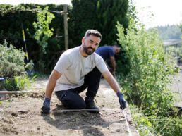Vermessung Boden für Hochbeet